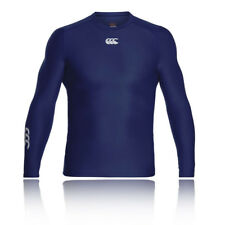 Canterbury Thermoreg Hommes Bleu Manche Longue Col Rond Running Baselayer Top