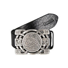 Pikeur - leather belt with Decorative Design buckle in Black