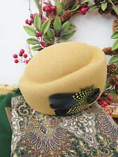Vintage Style 1940's Forties Pale Gold 100% Wool Felt Hat, Feather & Bead Trim