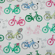 Vintage Blue Pink Green Bicycles Wipeclean PVC Vinyl Oilcloth Tablecloth