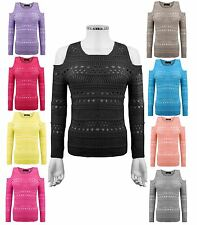 New Ladies Women Knitted Cold Shoulder Holey Knit Soft Jumper Top Sweater 8-14