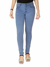 FLIRT Nx Women's High Rise Mid Blue Silky Denim Jeans With Plus Sizes (N727MB)