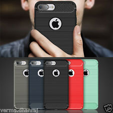 """Brushed Carbon Fibre TPU Thin Back Cover Case For Apple Iphone 7 Plus (5.5"""")"""