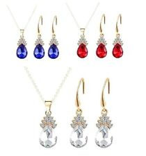 CRYSTAL & RHINESTONE NECKLACE & EARRINGS SET IN BLUE, RED OR SILVER