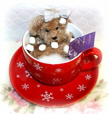 *NEW* ANNETTE FUNICELLO COCOA TEACUP MOHAIR BEAR RETIRED