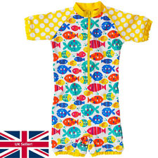 H2O Girls Babies Sunsafe Swim Suit UPF40+ Colourful Fish All In One Zip Up