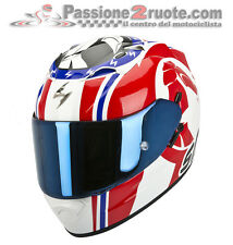 Helmet Scorpion Exo 1200 Stinger blanc rouge bleu moto casque integral casque