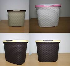 New Plastic Detergent Box Basket Oval Shape Rattan Style Storage Hamper With Lid