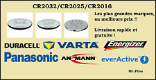Piles boutons lithium CR2032/CR2025/CR2016, Varta, Duracell,Panasonic,Energizer