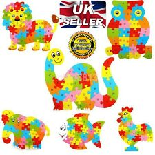 Wooden Animal Puzzle Jigsaw Alphabet Letter Blocks Kids Learing Educational Toy