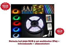 NEW BOBINA STRISCIA LED 5050 RGB MULTICOLOR 5MT CENTRALINE+ALIMENTATOR+TELEC