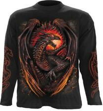 SPIRAL DIRECT Dragon fornace, manica lunga t-shirt nera DRAGON ALI FIAMME