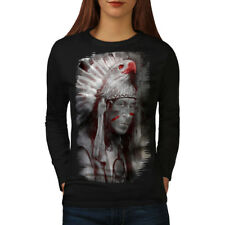Wellcoda Native American Fantasy Womens Long Sleeve T-shirt, Eagle Casual Design