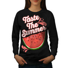 Wellcoda Taste Fresh Summer Womens Sweatshirt, Watermelon Casual Pullover Jumper