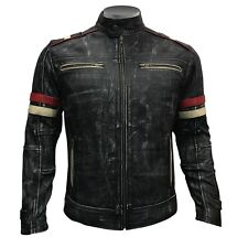 Mens Biker Vintage Motorcycle Distressed Black Retro With Stripes Leather Jacket