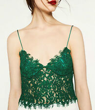 ZARA WOMAN BLOGGERS GREEN LACE GUIPURE TOP BRALET BUSTIER BLOUSE NEW