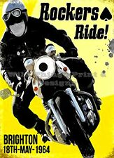 RETRO METAL PLAQUE : Rockers Ride Brighton sign/ad