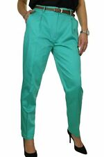 NEW Chino Pleated Tapered Leg Trousers FREE Belt Hot Green 8-22