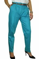 NEW Chino Cigarette Tapered Trousers FREE Belt Turquoise Blue 8-22