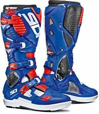SIDI CROSSFIRE 3 SRS BOOTS WHITE BLUE RED FLUO FLO OFF ROAD MOTOCROSS ENDURO MX