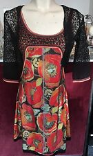 SAVE THE QUEEN NS BKACK & RED BASED PRINT DRESS W LACE SHRUG S,M,L,XL