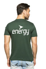 Clifton Mens BT Printed Half Sleeve V-Neck T-Shirt-Bottle Green-White Energy
