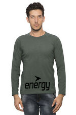 Clifton Mens FB Printed Full Sleeve R-Neck T-Shirt-Bottle Green Mel-Black Energy