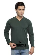 Clifton Mens FB Printed Full Sleeve V-Neck T-Shirt-Bottle Green-Black Energy