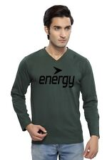 Clifton Mens FT Printed Full Sleeve V-Neck T-Shirt-Bottle Green-Black Energy