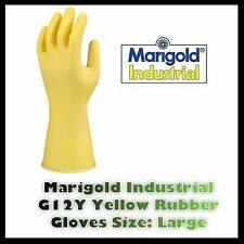 Marigold Industrial Heavy Duty Rubber Gloves G12Y Size Large 8 1/2 Lined Yellow