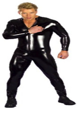 MENS MALE BLACK FETISH GENUINE RUBBER LATEX  GAY ZIP BODYSUIT CATSUIT SUIT STAG