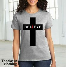 Believe Cross Christian Jesus Christ Church Religious Bible Women T Shirt