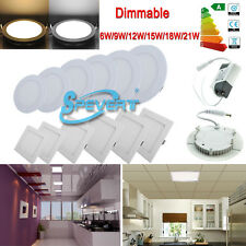 Dimmable 6W 9W 12W 15W 18W 21W LED Panel Light Recessed Ceiling lampada 85V-265V