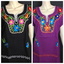 WOMENS PEASANT EMBROIDERED MEXICAN BLOUSE KIMONO STYLE ASSORTED COLORS LARGE