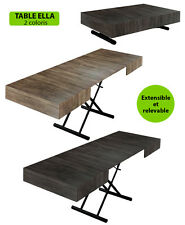 TABLE BASSE RELEVABLE TRANSFORMABLE EXTENSIBLE ELLA BLACK EDITION NEUF