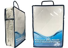 Waterproof Micro Percale Quilted Mattress Bed Protector Topper Fitted Cover