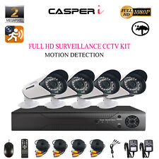 4CH HD DVR With 2MP Bullet Security Cameras Motion Detection IR complete Kit