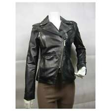Ladies Black Napa Leather Slim Tight Fitted Short Biker Rock Bike Jacket