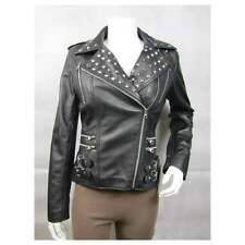 Ladies Black Leather Stud Zip Slim Tight Fitted Short Biker Jacket Punk Bike