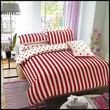 3PC Reversible Red Stripe Duvet Cover With Pillow Case  Single Double King