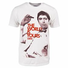 Hombre Scarface The World Is Yours Camiseta blanca Nuevo Oficial Tony Montana