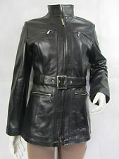 Ladies Black Napa Leather Stud Zip Slim Tight Fitted Long Biker Jacket Bike