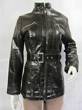 Ladies Brown Glaze Leather Slim Tight Fitted Long Biker Fashions Jacket Bike