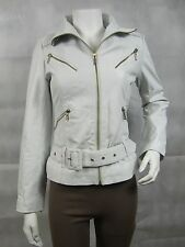 Ladies Dirty White Napa Leather Slim Tight Fitted Short Biker Jacket Bike
