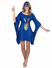 DEGUISEMENT FEMME ROBE HIPPIE BLEUE PEACE AND LOVE
