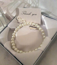 Boda Perla Pulsera de charms regalo & Caja A VARIOS available-thank YOU