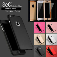 Hybrid 360 Ultra Thin Silicone Case / Tempered Glass Cover For iPhone 6S 6 Plus
