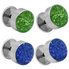 Falso Plug Tunnel Piercing Pendientes Strass Zirconia Glitter Acero 10mm Mujer