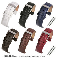 Mens Padded Genuine Leather Wrist Watch Strap Band Stainless Steel Buckle