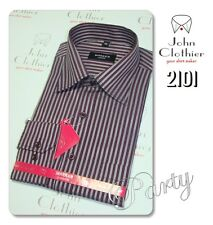 Blended Cotton Mens Formal summer Business shirts Maroon Stripes NEW Free Ship